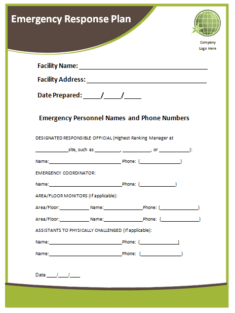 Emergency response plan template microsoft word templates for Emergency response checklist template