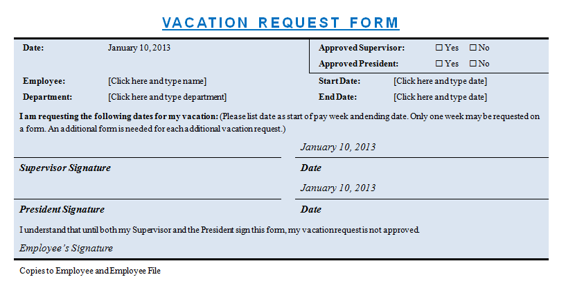 Vacation Request Template – Sample Leave Request Form