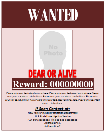 Wanted Poster Template ← Microsoft Word Templates
