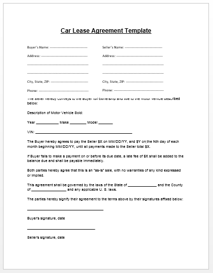 Car Lease Agreement Template | Microsoft Word Templates
