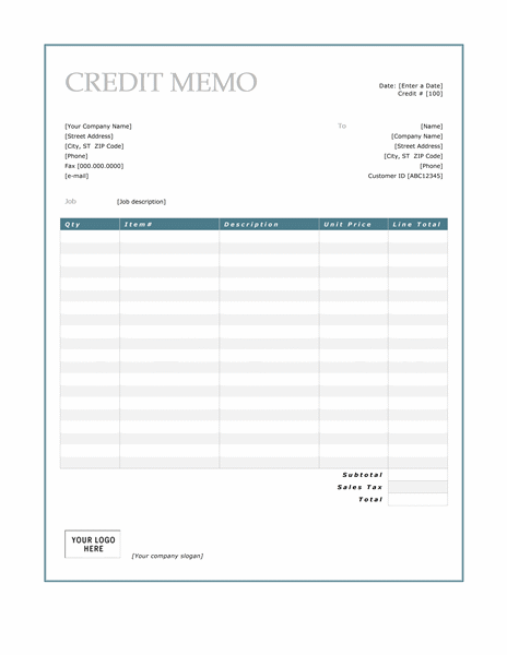 Credit Memo Template  Format For Credit Note
