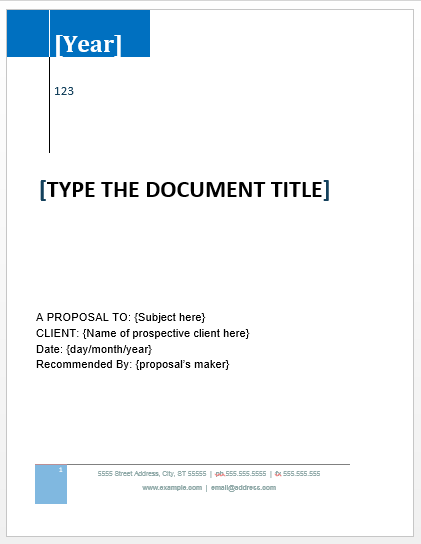 Project Proposal Template – Word Project Proposal Template