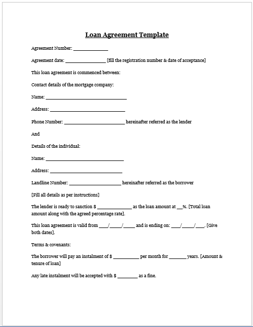 Loan Agreement Template – Agreement Template Word