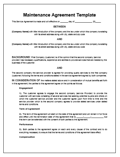 maintenance agreement template microsoft word templates - Maintenance Service Contract Sample