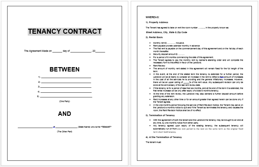 Tenancy Contract Template – Landlord Lease Agreement Tempalte