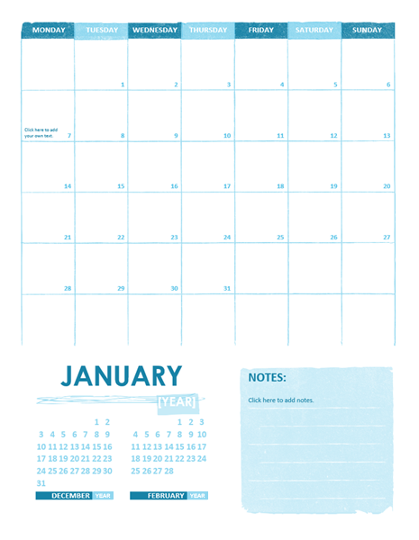 Sample Calendar – Word Calendar Sample