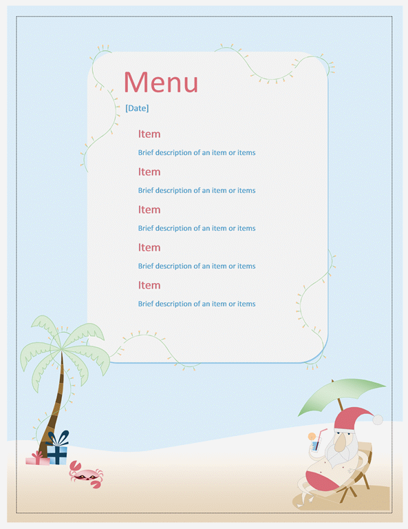 Beach Party Menu Template  Microsoft Office Menu Templates