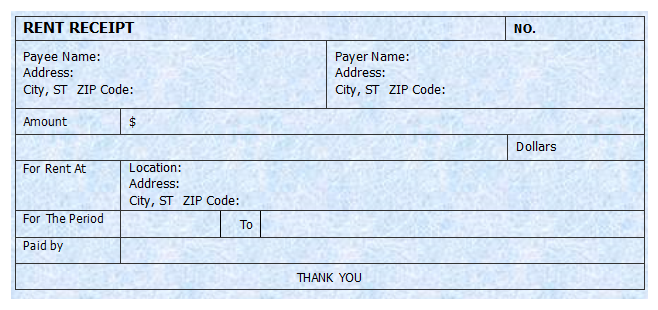 Rent Receipt Template – Receipt for Rent Paid