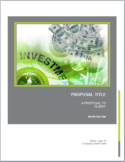 Investment Proposal Template  Proposal Template Microsoft Word