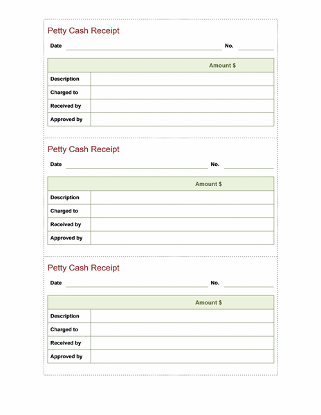 Petty Cash Receipt Template Microsoft Word Templates