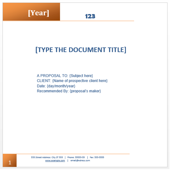 Proposal Templates – Bid Proposal Template Word