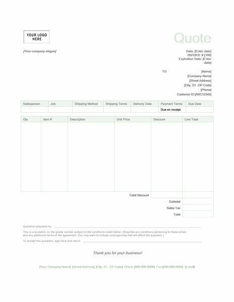 Quote Form Template Word Kleobeachfixco - Quote sheet template word