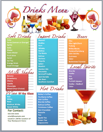 Drinks bar menu template microsoft word templates for Drink menu template microsoft word