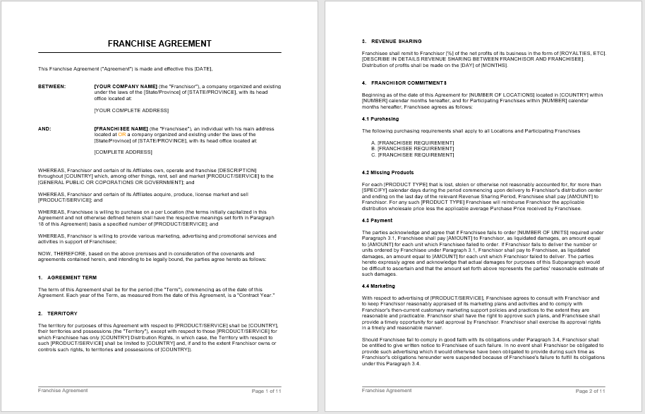 Franchising Business Agreement Template 03