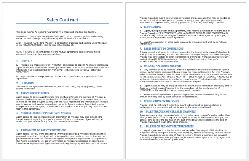 sales agreement contract template .
