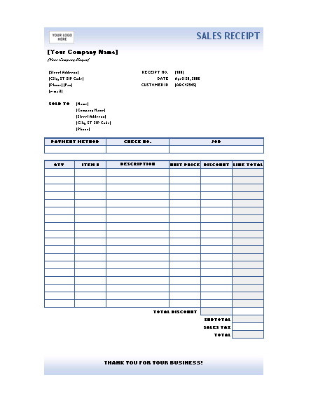 Sales Receipt Excel Template | Microsoft Word Templates
