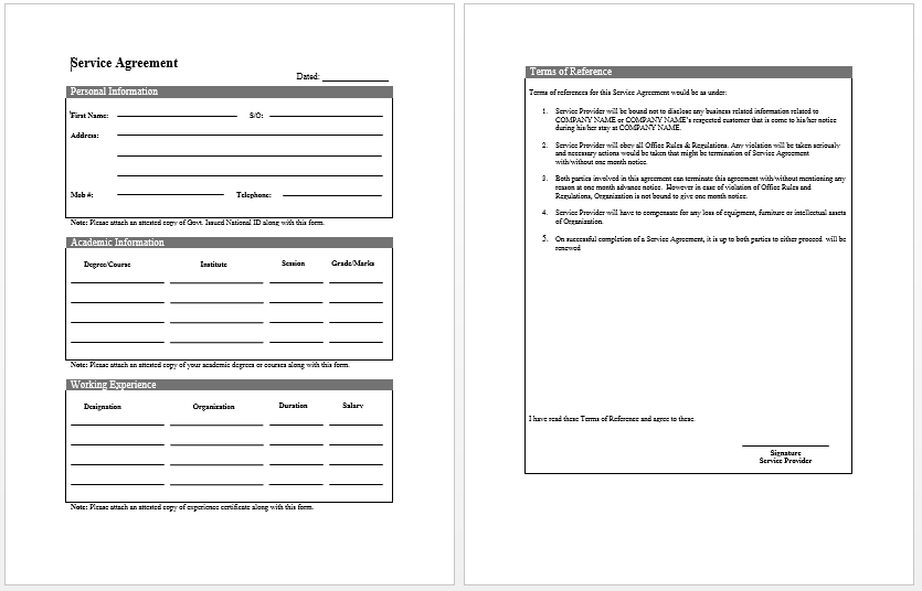 Good Service Contract Template  Blank Contract Template