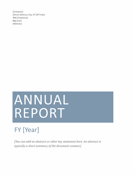 Annual Financial Report Template  Annual Financial Report Template