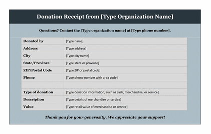 Donation Receipt Template – Sample Receipts Templates