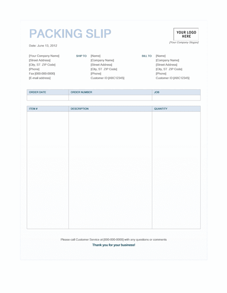 Packing Slip Template  Packing Slip Form