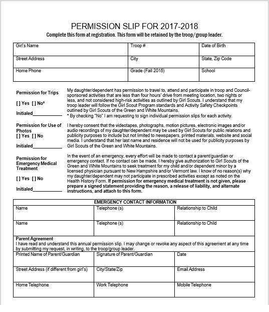 Trip Permission Slip Template 02