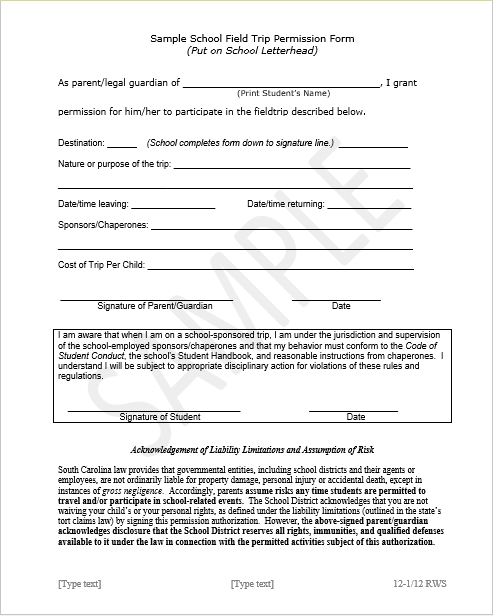Trip Permission Slip Template 03