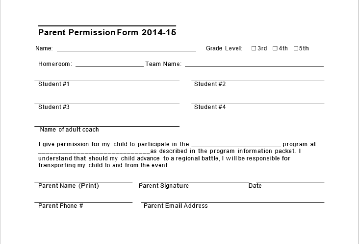 Trip Permission Slip Template 06