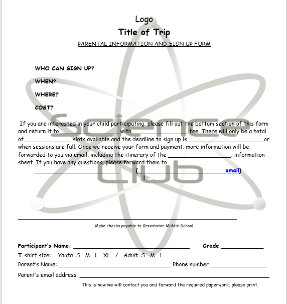 Trip Permission Slip Template 08