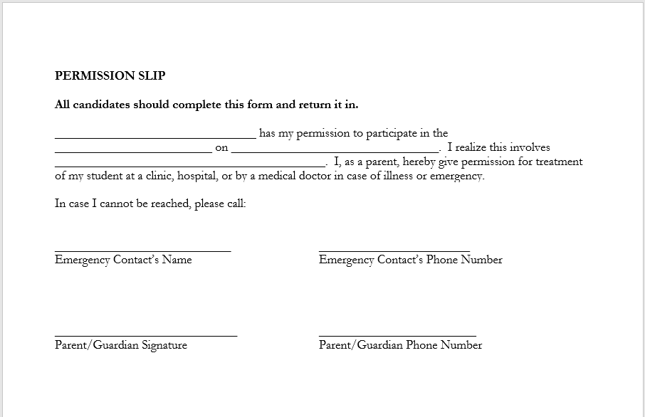 Trip Permission Slip Template 09