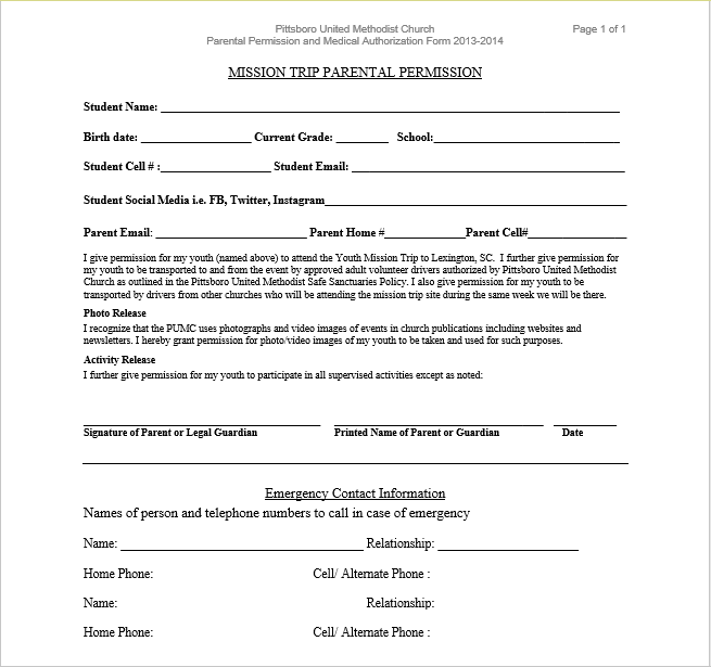 Trip Permission Slip Template 10
