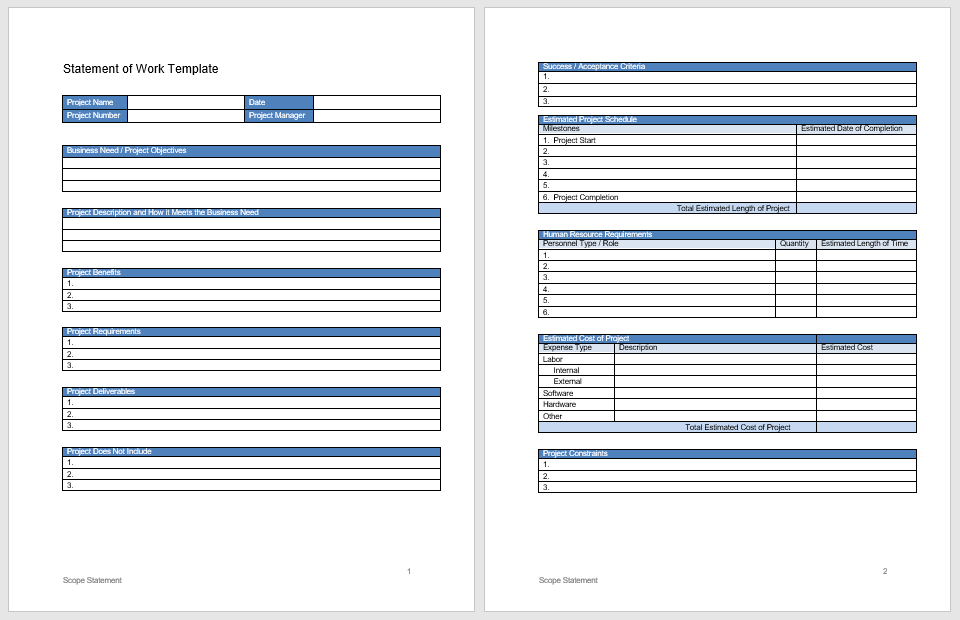 Statement of Work Template 09