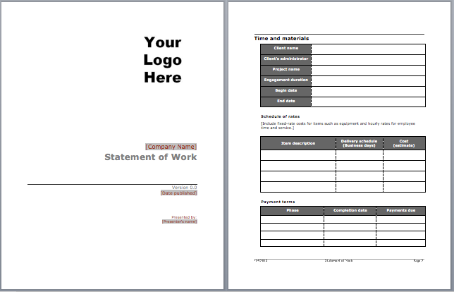 Statement of work template microsoft word templates for Statement of works template