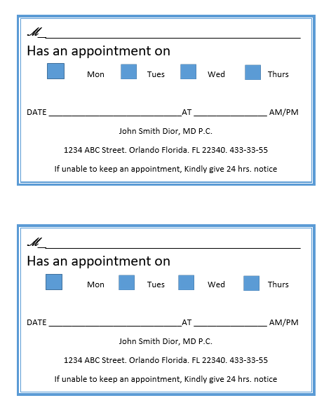 Appointment Slip Template 10