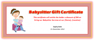 Babysitter Voucher Template
