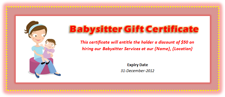 image regarding Printable Babysitting Coupon titled Babysitting Voucher Template - Microsoft Term Templates