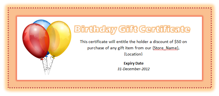 Birthday Voucher Template – Gift Certificate Wording