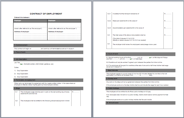 Labor Contract Template Microsoft Word Templates