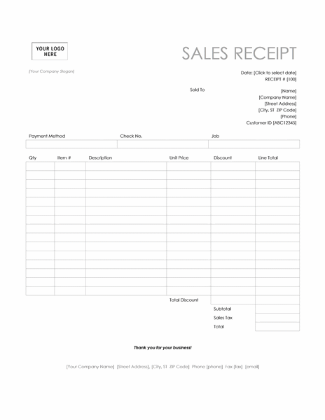 receipt format in word