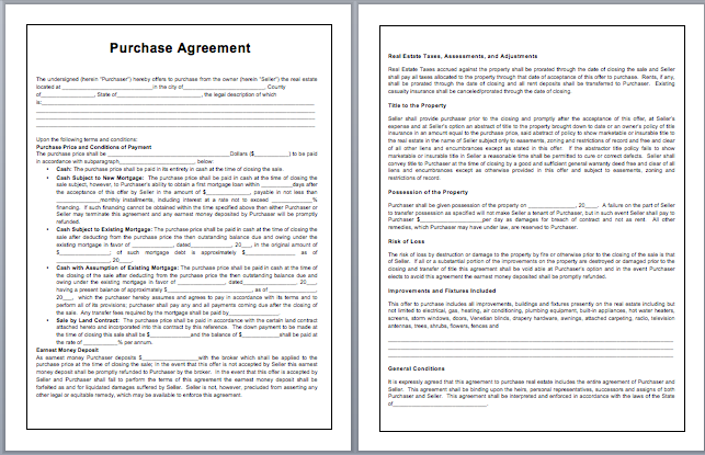 Purchase Contract Template  Blank Purchase Contract