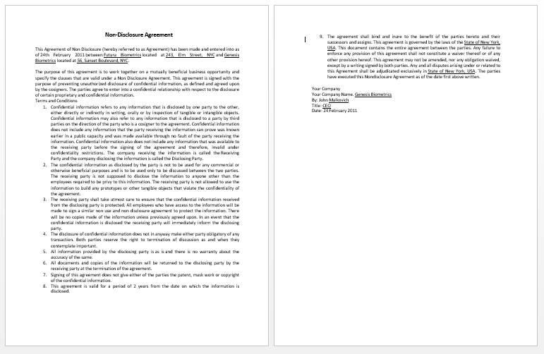 Contract Templates – Standard Confidentiality Agreement