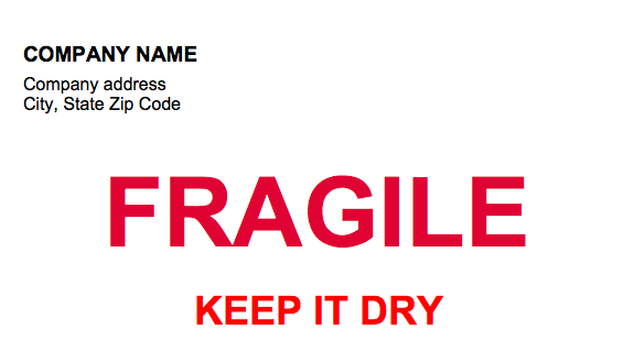 Fragile Keep It Dry Label Template