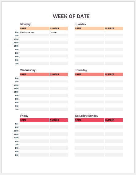 Weekly Appointments Calendar Template 02