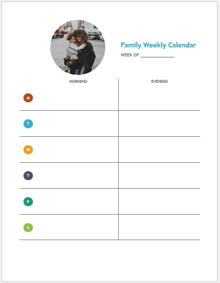Weekly Family Calendar Template