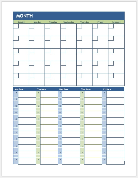 Weekly and Monthly Calendar Template