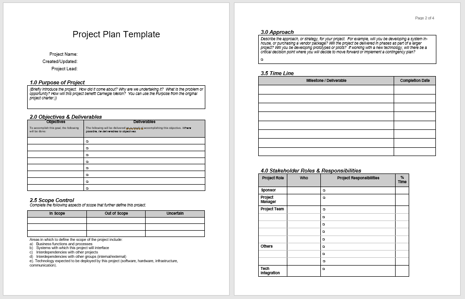 Project Plan Template 02