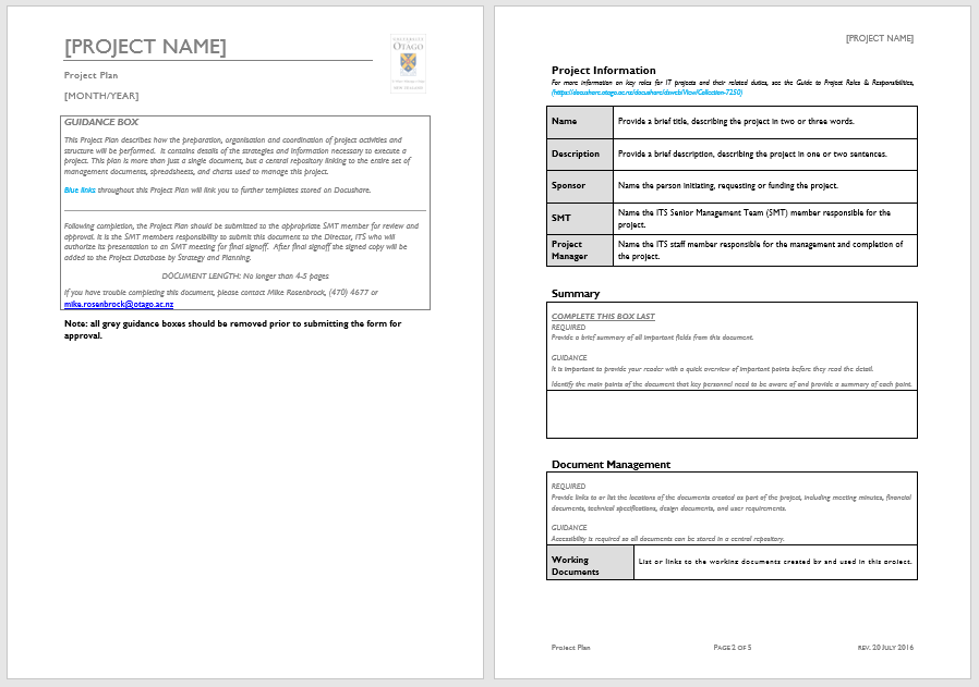 Project Plan Template 03
