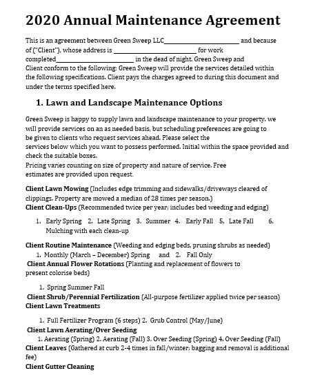 Maintenance Agreement Template 02