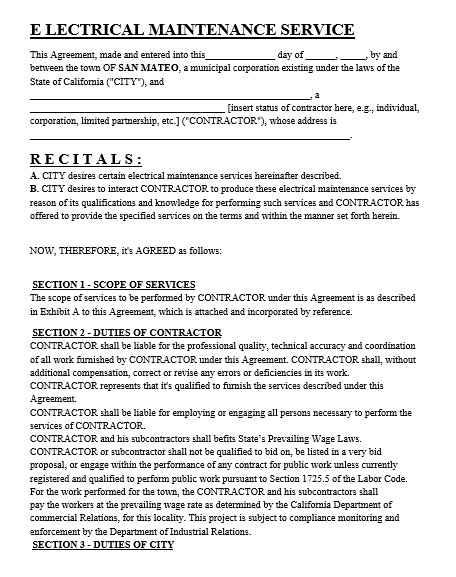 Maintenance Agreement Template 03