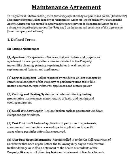 Maintenance Agreement Template 05