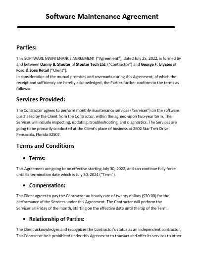 Maintenance Agreement Template 07